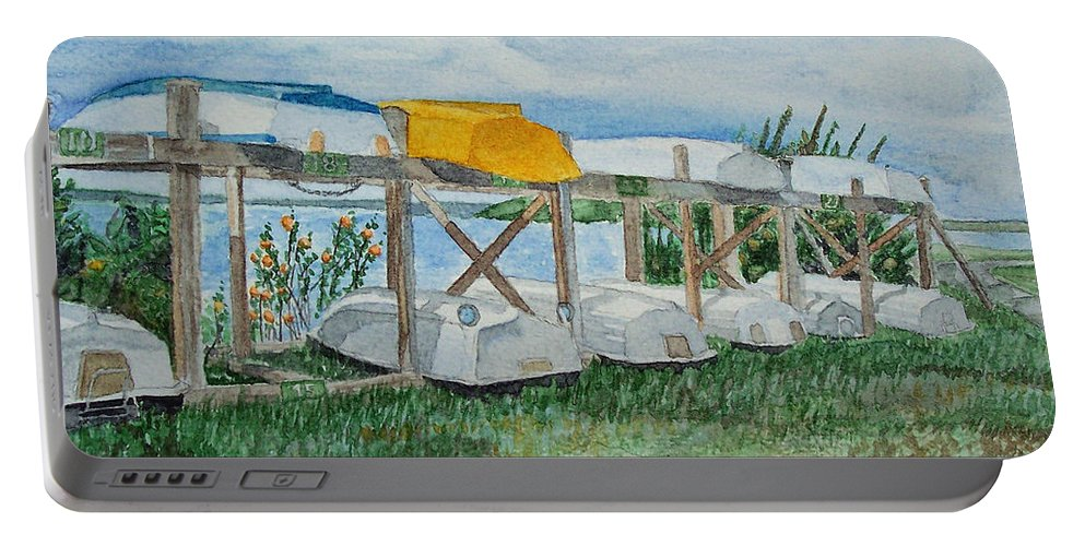 Rowboats Portable Battery Charger featuring the painting Summer Row Boats by Dominic White