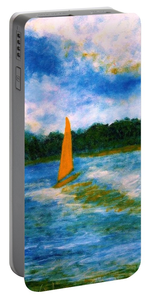 Long Island Sound Portable Battery Charger featuring the painting Summer Sailing by John Scates