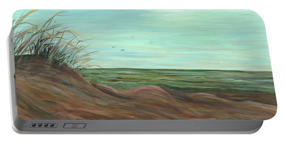 Summer Portable Battery Charger featuring the painting Summer Sand Dunes by Nadine Rippelmeyer