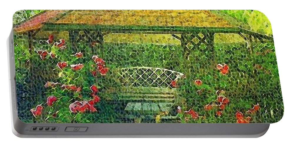 Gazebo Portable Battery Charger featuring the digital art Summer Shelter by Ellen Cannon