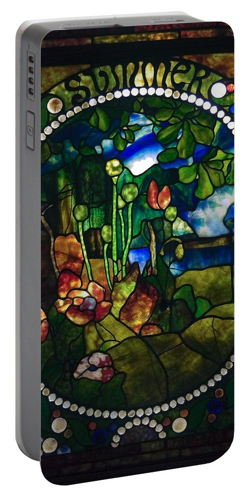 Stained Glass Panel Portable Battery Charger featuring the photograph Summer Stained Glass Panel by Sally Weigand