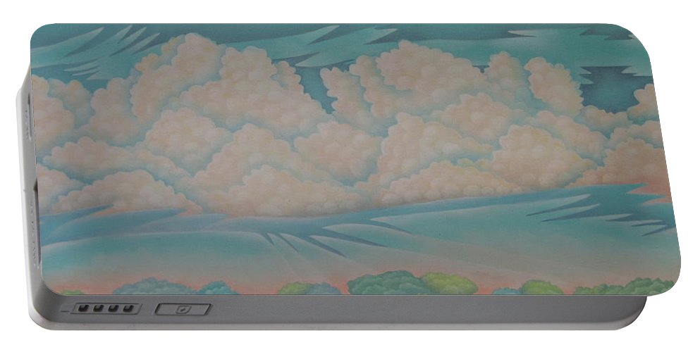 Landscape Portable Battery Charger featuring the painting Summer Sunrise by Jeniffer Stapher-Thomas