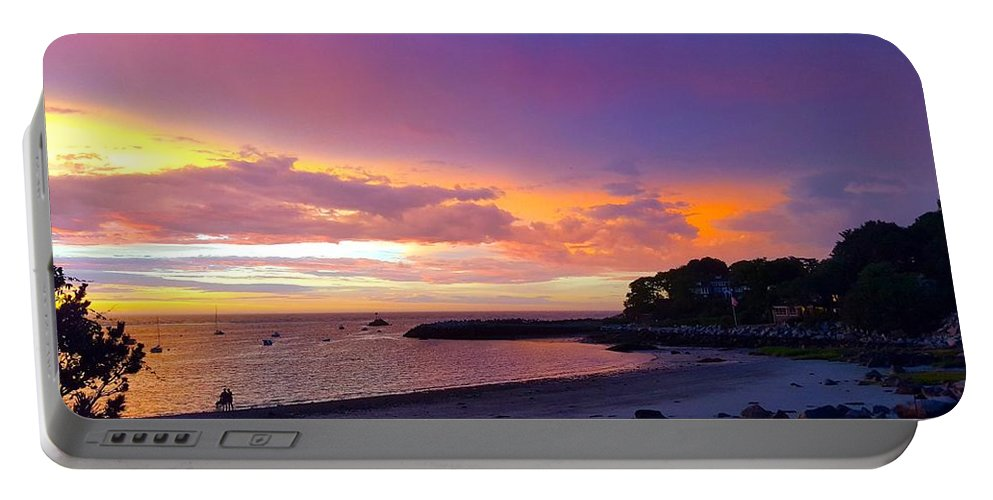 Deep Blue And Pink Clouds Portable Battery Charger featuring the photograph Summer Sunset After The Storm by Harriet Harding