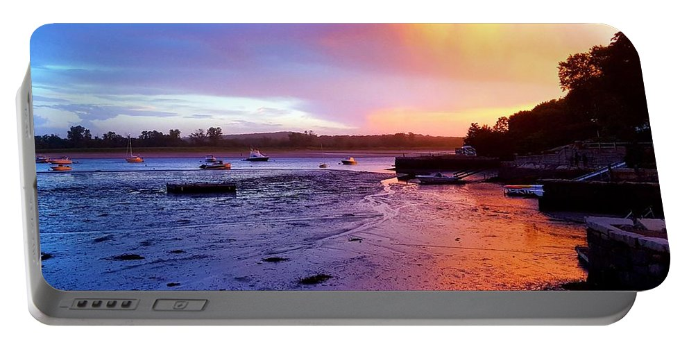 Yellow Pink And Blue Clouds Portable Battery Charger featuring the photograph Summer Sunset At Low Tide by Harriet Harding