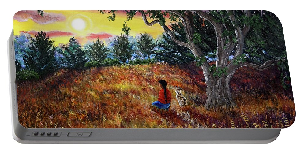 Landscape Portable Battery Charger featuring the painting Summer Sunset Meditation by Laura Iverson