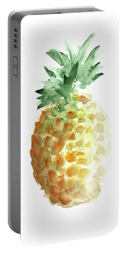 Prints Portable Battery Charger featuring the painting Pineapple Art Print, Summer Watercolor Painting, Hawaii Fruits by Joanna Szmerdt