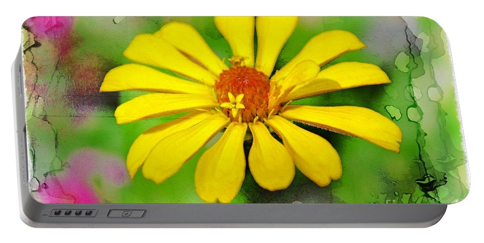 Flowers Portable Battery Charger featuring the photograph Summer Zinnia by Debbie Portwood