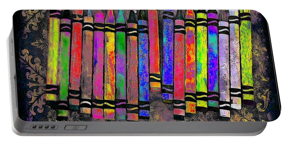 Crayons Portable Battery Charger featuring the digital art Summer's Crayon Love by Iowan Stone-Flowers