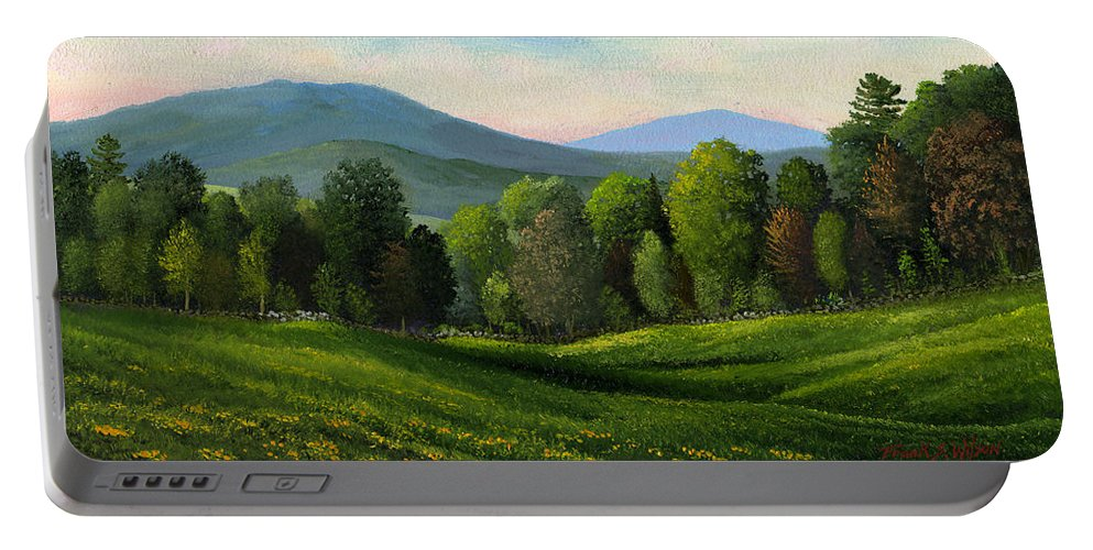 Landscape Portable Battery Charger featuring the painting Summers Ending by Frank Wilson