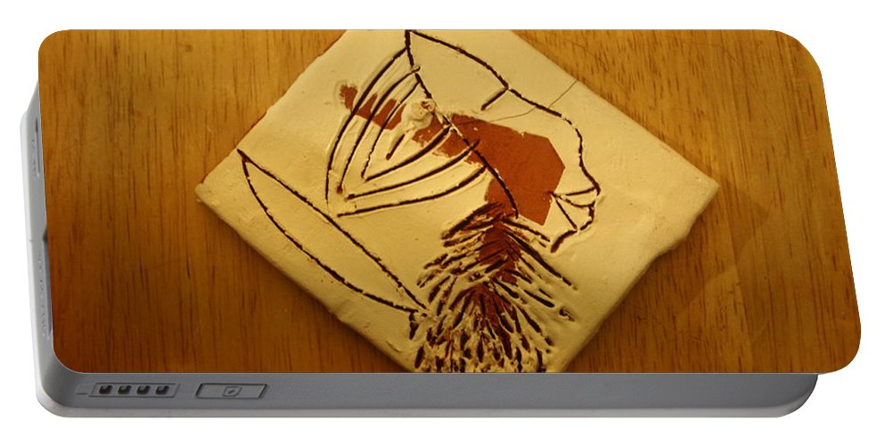 Jesus Portable Battery Charger featuring the ceramic art Sun - Tile by Gloria Ssali
