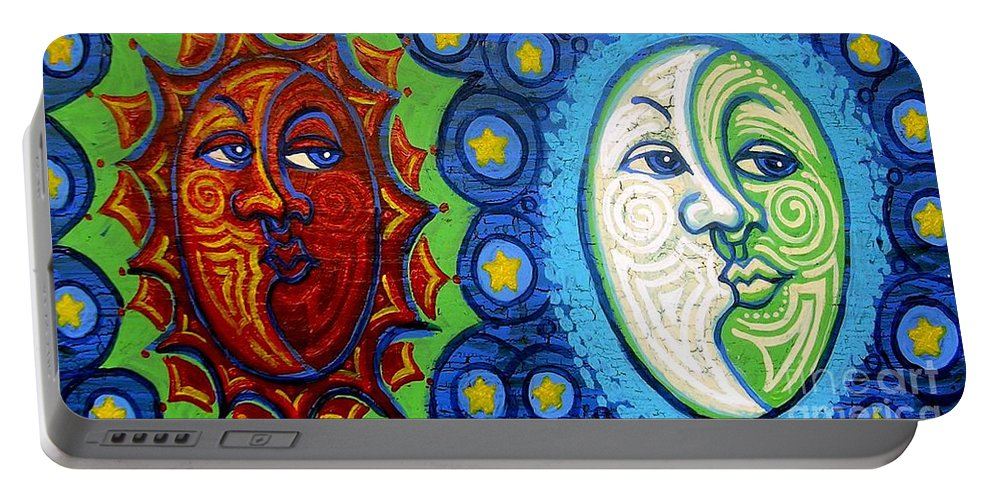 Sun Portable Battery Charger featuring the painting Sun And Moon by Genevieve Esson