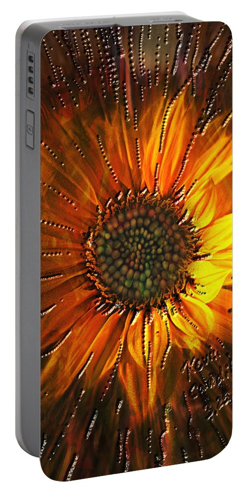 Sun Flower Portable Battery Charger featuring the painting Sun Burst by Kevin Caudill