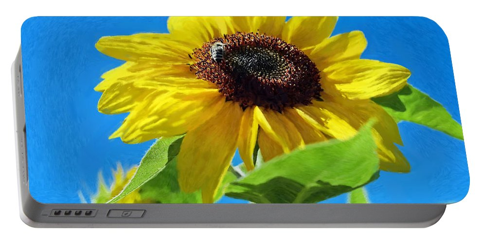 Bee Portable Battery Charger featuring the painting Sun Flower - Id 16235-142741-1520 by S Lurk