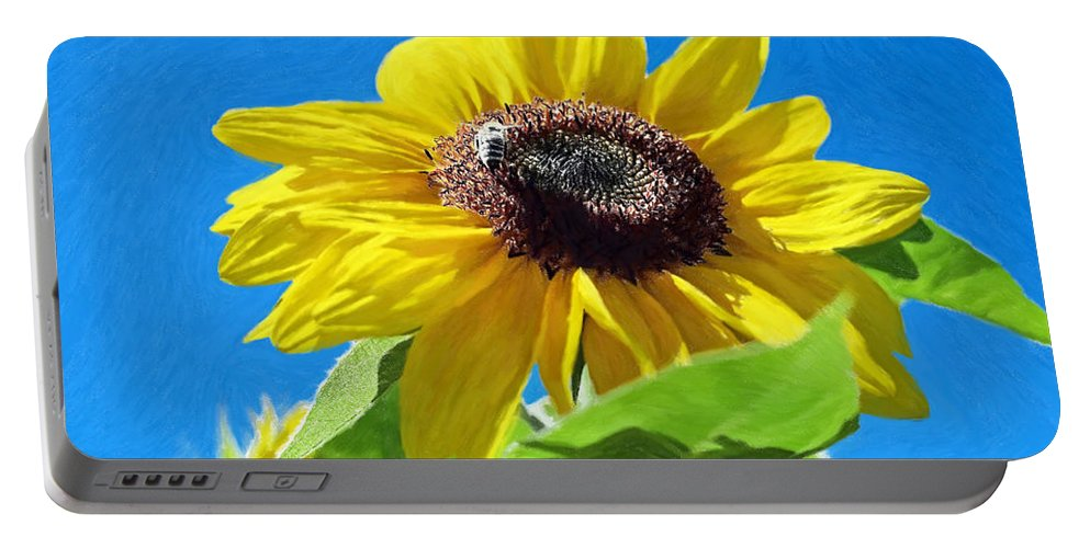 Bee Portable Battery Charger featuring the painting Sun Flower - Id 16235-142743-3974 by S Lurk