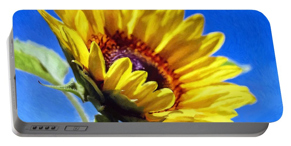 Sky Portable Battery Charger featuring the painting Sun Flower - Id 16235-142812-7136 by S Lurk