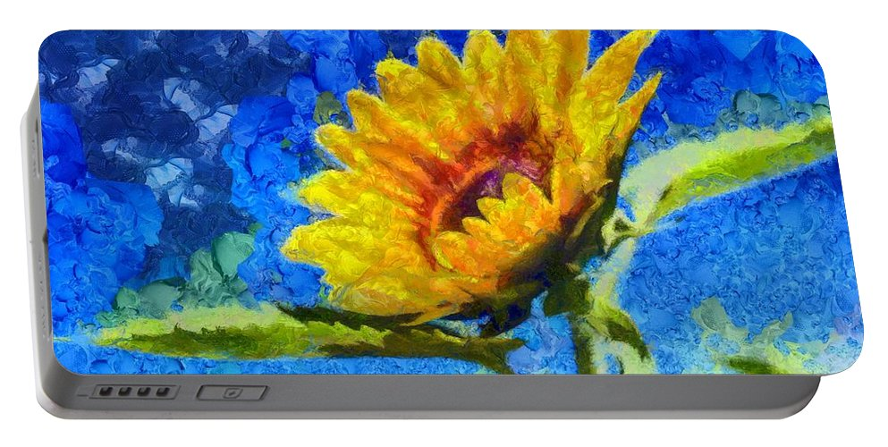 Sky Portable Battery Charger featuring the painting Sun Flower - Id 16235-142817-0801 by S Lurk