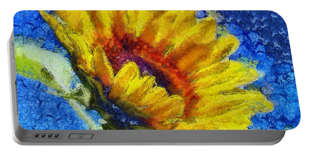 Sky Portable Battery Charger featuring the painting Sun Flower - Id 16235-142821-6349 by S Lurk