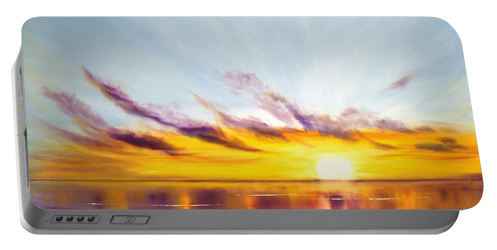 Sunset Original Painting Gold Yellow And Orange Colors Art By Gina De Gorna Colorful Seascape Portable Battery Charger featuring the painting Sun In A Lake by Gina De Gorna