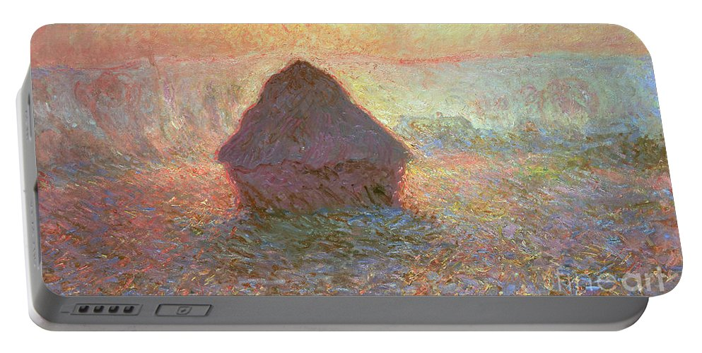 Grainstack Portable Battery Charger featuring the painting Sun In The Mist by Claude Monet