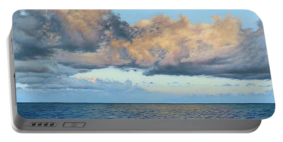Seascape Portable Battery Charger featuring the painting Sun Kissed by Darrel Kanyok
