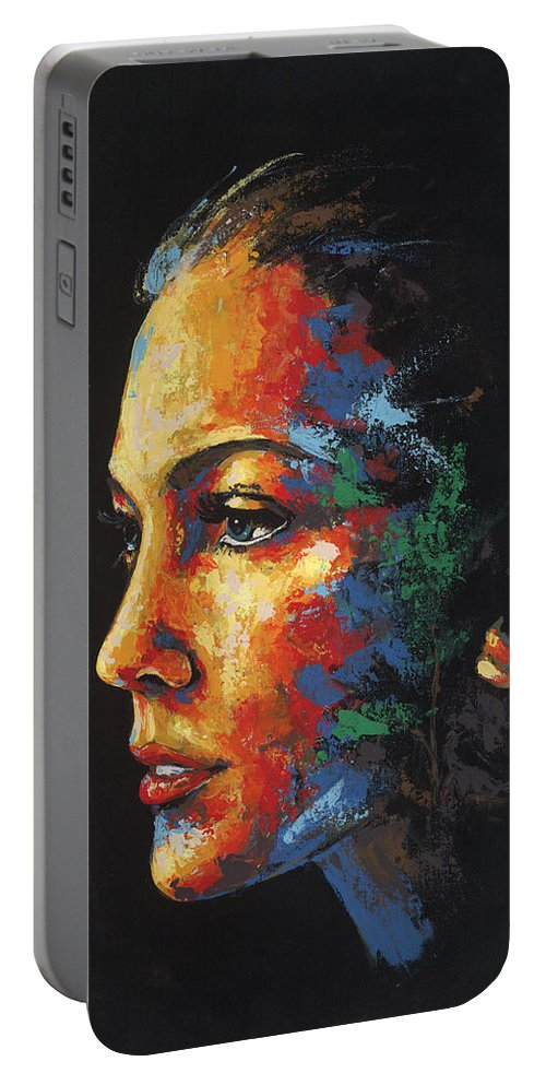 Portrait Portable Battery Charger featuring the painting Sun Kissed - With Hidden Pictures by Konni Jensen