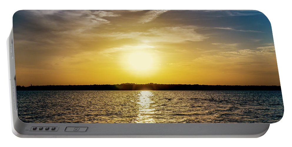 Horizontal Portable Battery Charger featuring the photograph Sun On The Lake by Doug Long