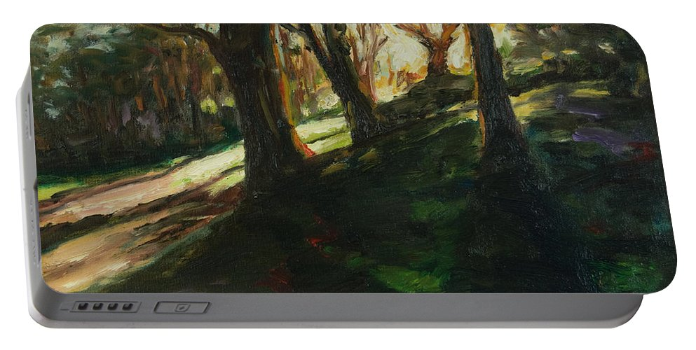 Trees Portable Battery Charger featuring the painting Sun by Rick Nederlof