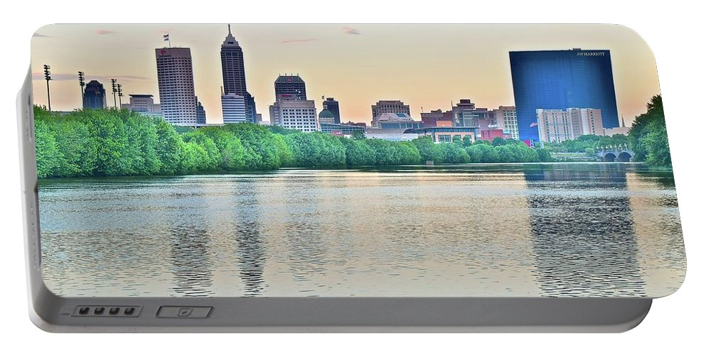 Indianapolis Portable Battery Charger featuring the photograph Sun Rise In Indianapolis by Frozen in Time Fine Art Photography