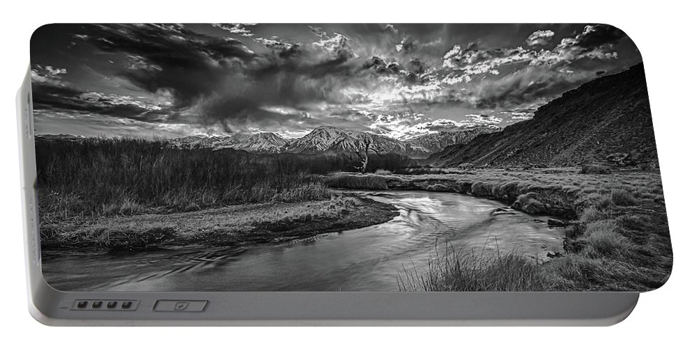 Owens River Portable Battery Charger featuring the photograph Sun Setting On The Owens River by Barbara Hayton