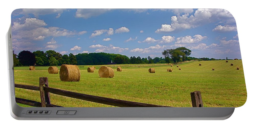 Landscape Portable Battery Charger featuring the photograph Sun Shone Hay Made by Byron Varvarigos