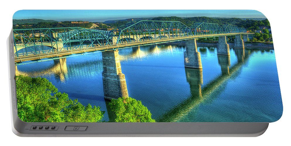 Reid Callaway Sun Up Reflections Walnut Street Pedestrian Bridge Portable Battery Charger featuring the photograph Sun Up Reflections Chattanooga Tennessee by Reid Callaway