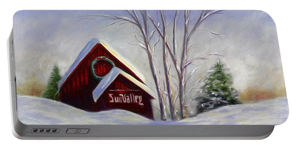 Landscape White Portable Battery Charger featuring the painting Sun Valley 1 by Shannon Grissom