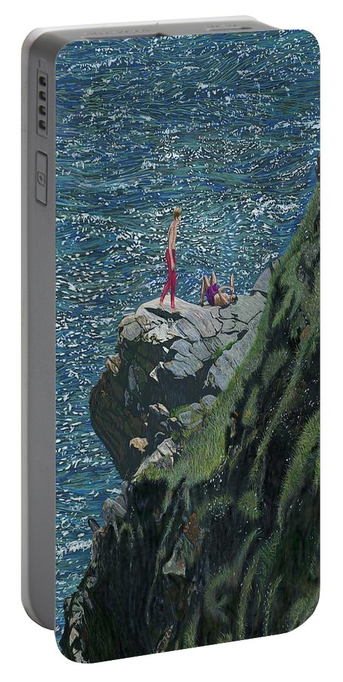Portable Battery Charger featuring the digital art Sunbathers Cornwall by Kevin Collins