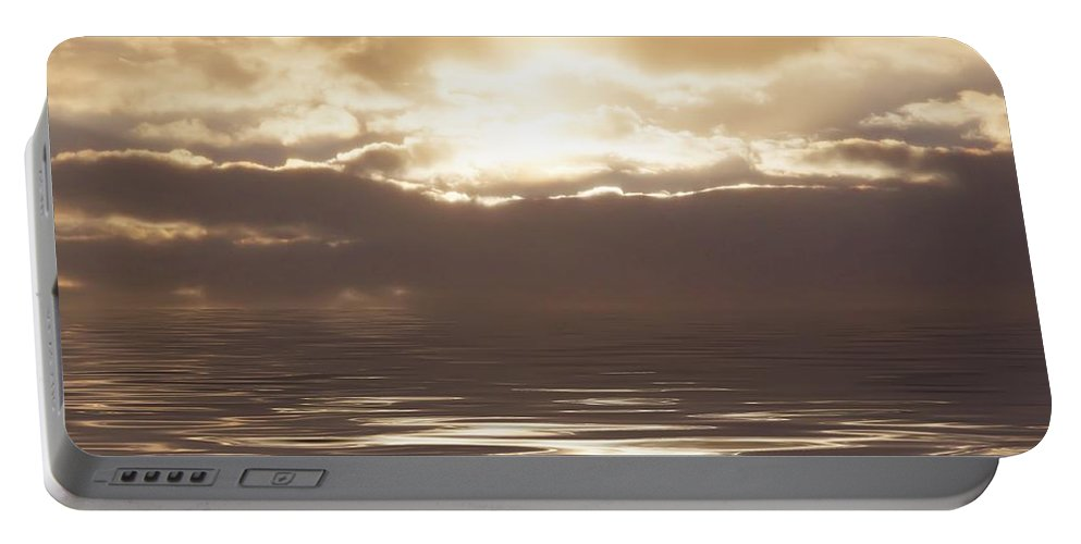 Sunrise Portable Battery Charger featuring the photograph Sunburst Over Water by Bill Cannon
