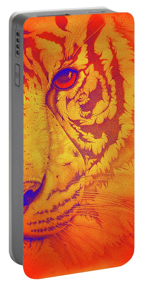 Tigers Digital Art Portable Battery Charger featuring the drawing Sunburst Tiger by Mayhem Mediums