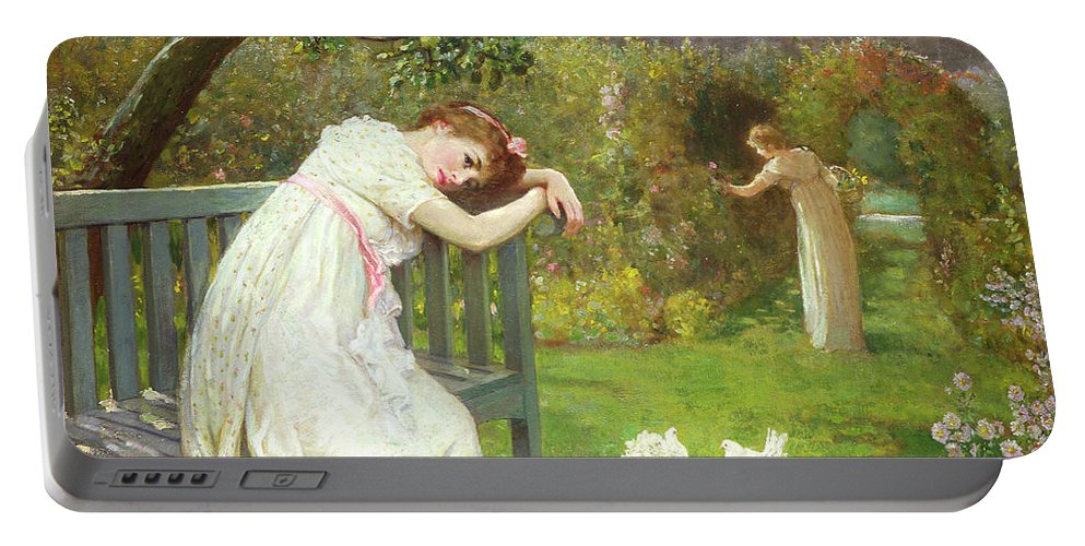 Sunday Afternoon Portable Battery Charger featuring the painting Sunday Afternoon - Ladies In A Garden by English School