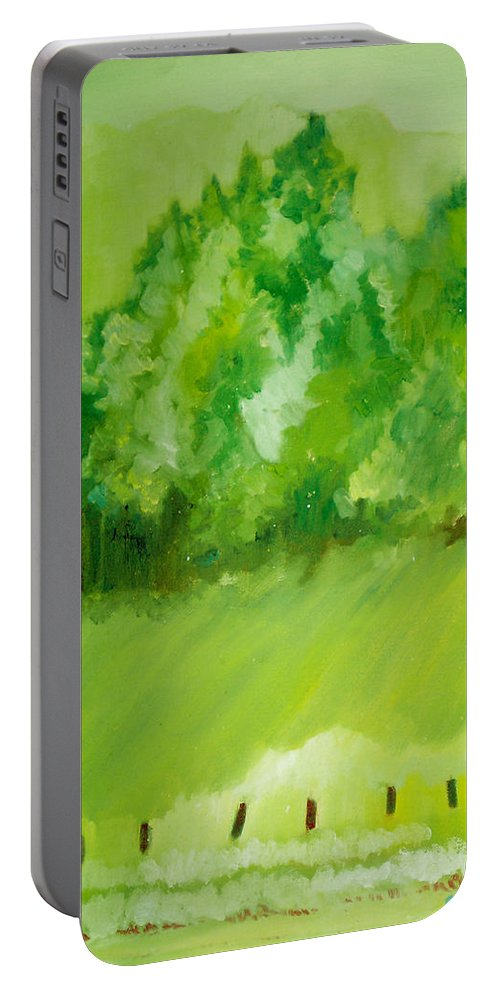 Spring Portable Battery Charger featuring the painting Sunday At Two Thirty by Seth Weaver