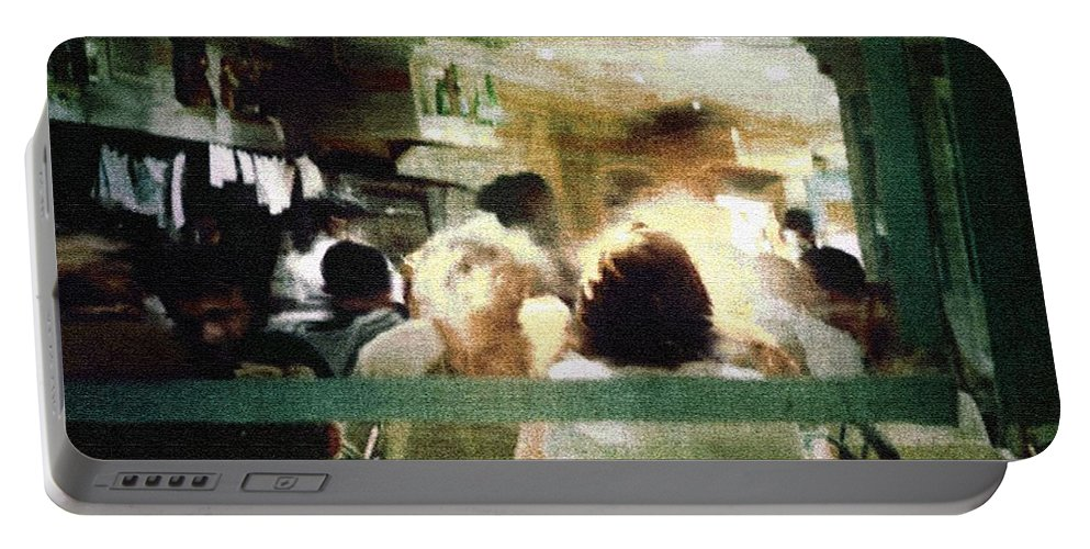 People Portable Battery Charger featuring the painting Sunday Dinner Gotham by RC DeWinter