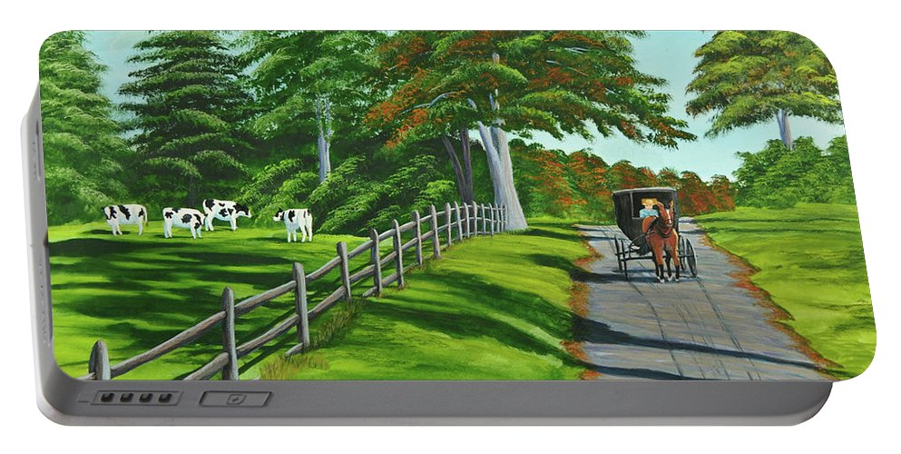 Cows Portable Battery Charger featuring the painting Sunday Drive by Charlotte Blanchard