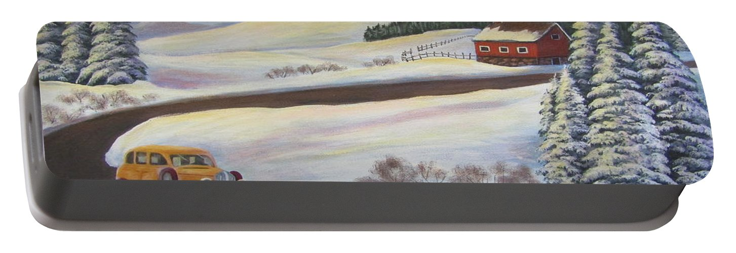Portable Battery Charger featuring the painting Sunday Drive In Winter Wonderland by Sharon Coray