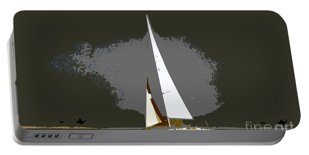 Sailing Portable Battery Charger featuring the painting Sunday Sailing by David Lee Thompson