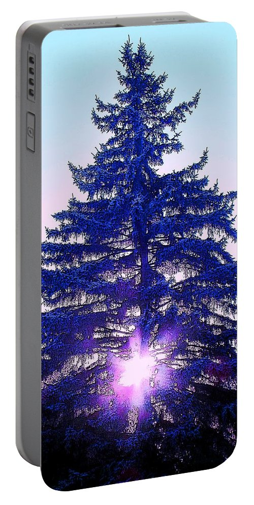 Fir Portable Battery Charger featuring the photograph Sundown In The Forest by Ian MacDonald