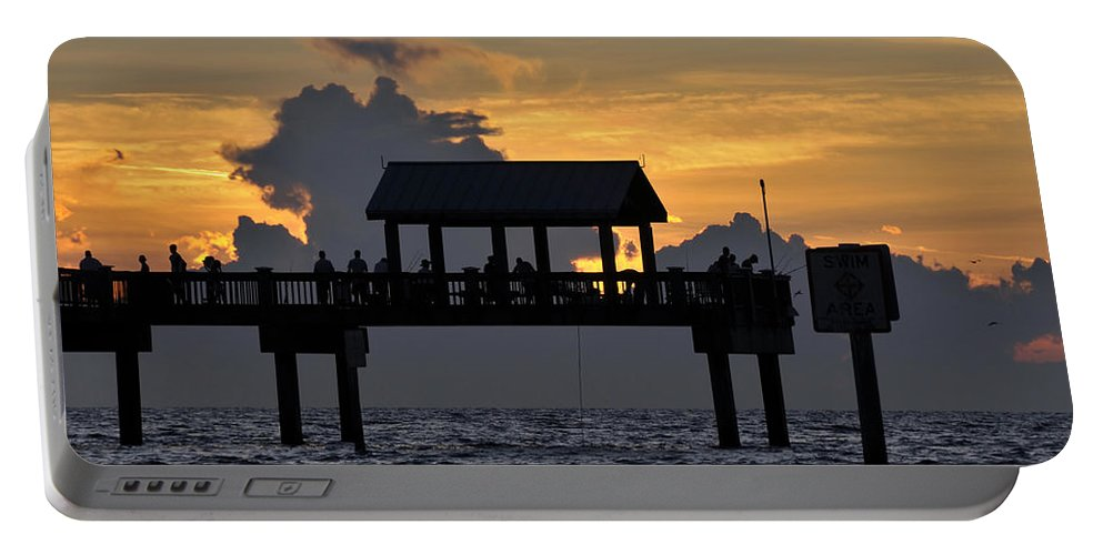 Fishing Portable Battery Charger featuring the photograph Sundown Pier by David Lee Thompson