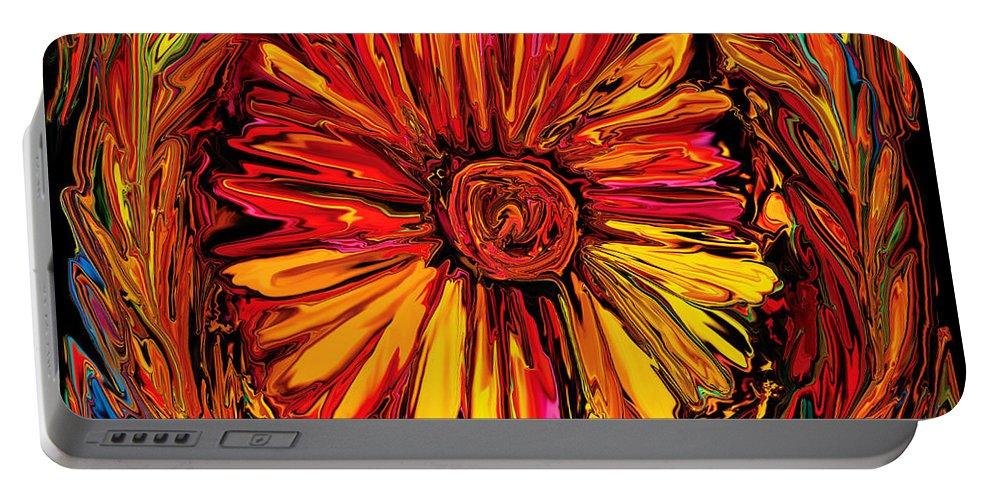 Art Portable Battery Charger featuring the digital art Sunflower Emblem by Rabi Khan