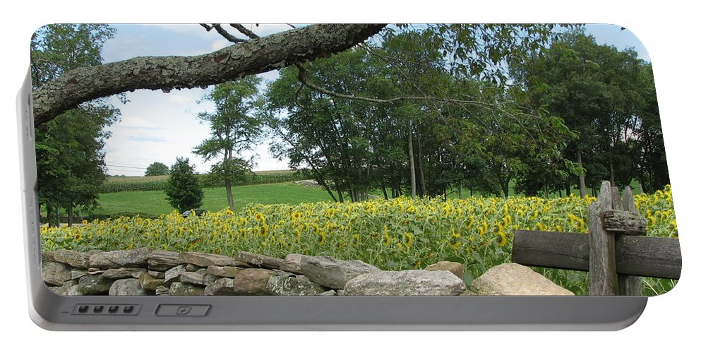 Flowers Portable Battery Charger featuring the photograph Sunflower Farm by Sandra Bourret