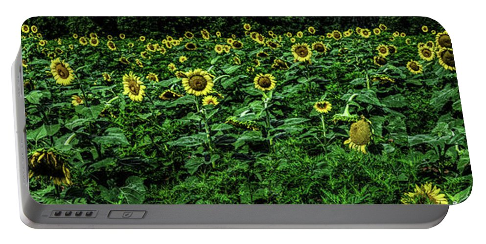 Beshers Portable Battery Charger featuring the photograph Sunflower Field Panorama by Thomas Marchessault
