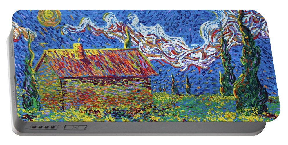 Landscape Portable Battery Charger featuring the painting Sunflower House by Stefan Duncan