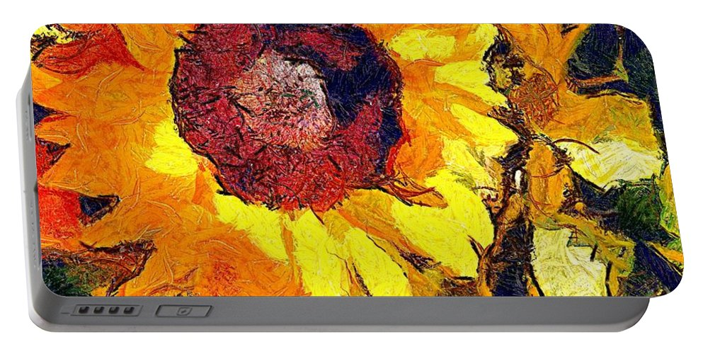 Sunflower Portable Battery Charger featuring the mixed media Sunflower by Janet Nielsen