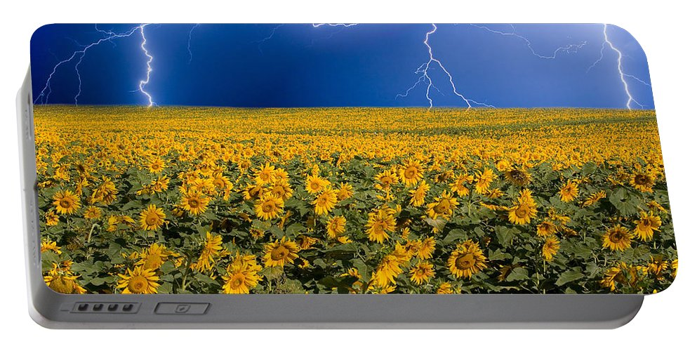 Sunflowers Portable Battery Charger featuring the photograph Sunflower Lightning Field by James BO Insogna