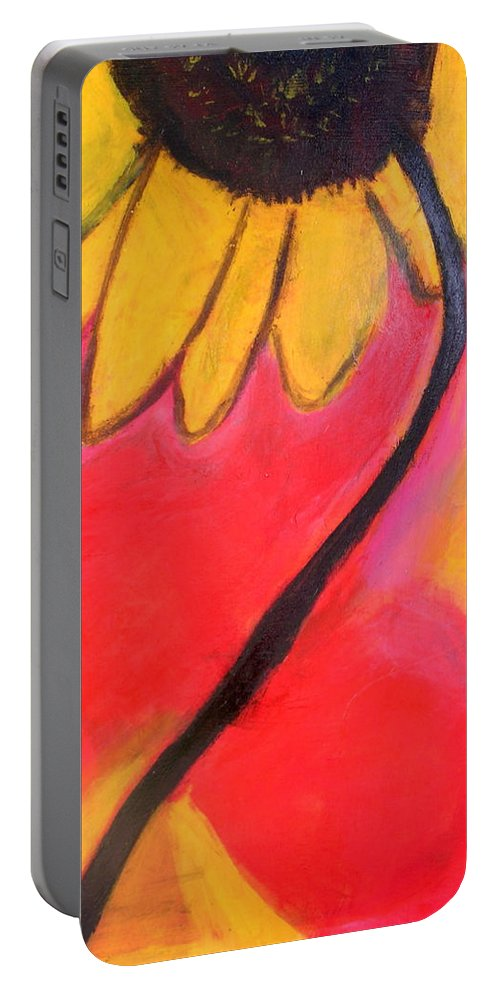 Sunflower Portable Battery Charger featuring the painting Sunflower Love by Patricia Byron